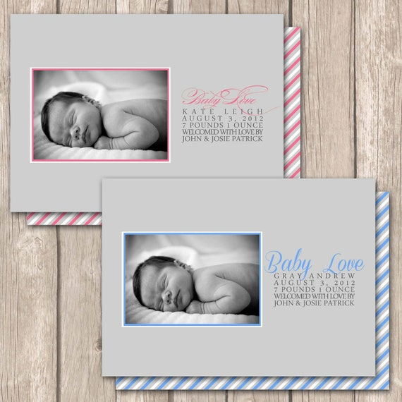 Little Boy or Girl Birth Announcement--Simple, modern and elegant, double sided printing, Custom photo boy or girl baby announcement
