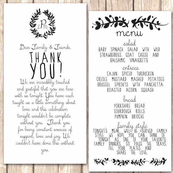 Whimsical Menu And Thank You Card For Wedding By Vivalalovely