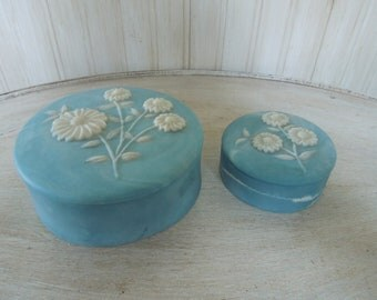 Vintage Blue Incolay Trinket Box Set of Two