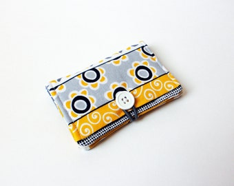 Grey Yellow White Stripes Fabric Business Card Holder, with Yellow Polka Dot - Credit Card Holder, Cloth Card Holder, Gift Card Holder