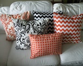 Set of 5 Halloween Chevron Damask Pillow Covers - SALE