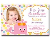 Splish Splash Pink Whale Birthday Party Invitation Card   - Any Color