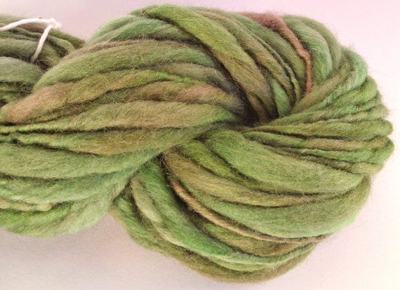 Forest canopy  - thick and thin  hand spun, hand dyed wool yarn. Pure Australian 21 micron merino wool.