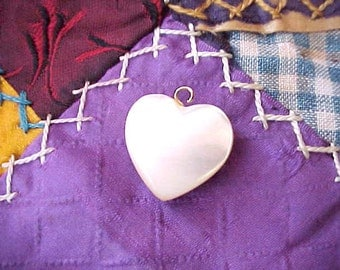 Pretty Little Carved Mother- of -Pearl Puffy Heart Charm or Pendant