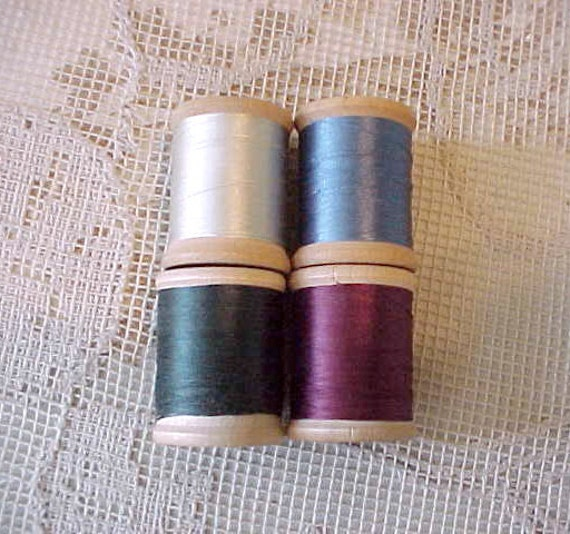 4 Antique Wooden Spools of Corticelli Silk Thread in Beautiful Colors