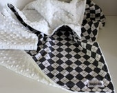 Baby Blanket, Argyle Baby Blanket with Minky, Toddler Blanket, 28x34