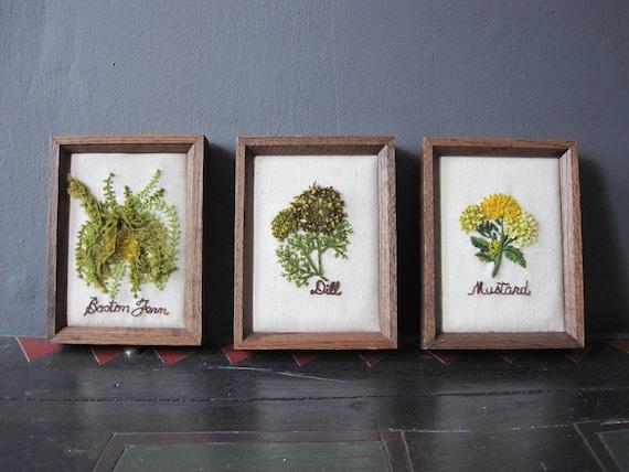 kitschy botanical needlepoints