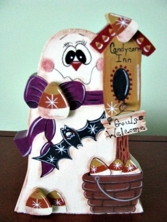 Ghost, Halloween, birdhouse, candy corn, bat, handpainted,decoration