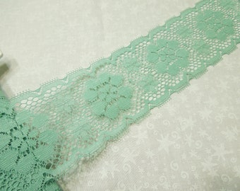1 yard of 3 inch Celadon Green Chantilly Galloon lace trim for bridal, baby, lingerie, home decor by MarlenesAttic - Item OU
