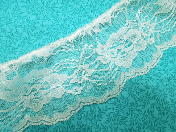 34 inches of 4 inch white ruffled chantilly lace trim for bridal, baby, housewares, sewing, crafts by MarlenesAttic - Item OG