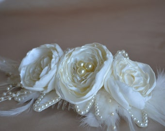 Wedding Hair Piece Ivory Satin with Feathers and Pearls