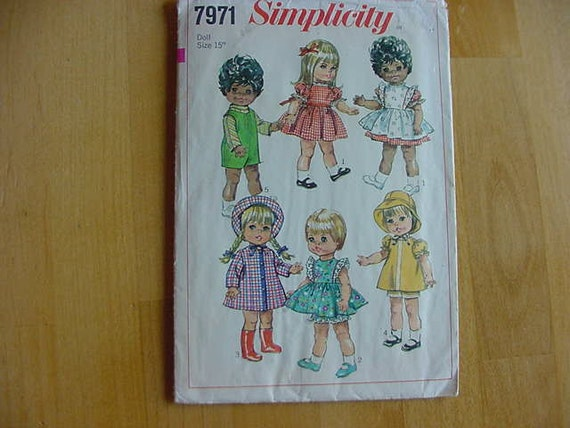 "1968 Simplicity Pattern 7971, Doll Clothes, 15"" Dolls, Toddler Doll Wardrobe, Skirt, Pinafore,Panties, Hat, Dress"