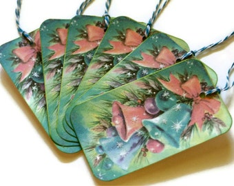 Christmas Tags Gift Retro Vintage Inspired Mid Century Bells PASTEL  Set of 6