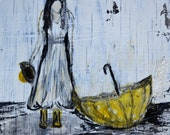 Mixed Media Art Print - Rainy Girl - Black, White, Yellow