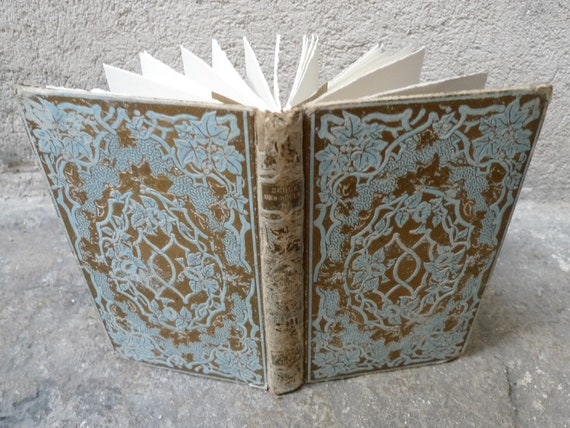 Guest Book Wedding, Something Blue, Upcycled French Antique Book, Vintage Inspired Wedding