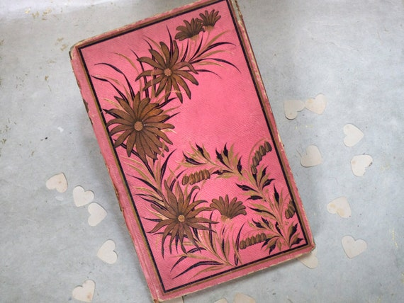 Antique Journal, Pregnancy Scrapbook, Pink Upcycled French Book, Rebound Vintage Book