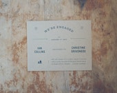 Kraft Engagement Announcement Postcards with Custom Story and Icon for Weddings