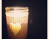 Mason Jar Candle Holder w/  Heart Cutout