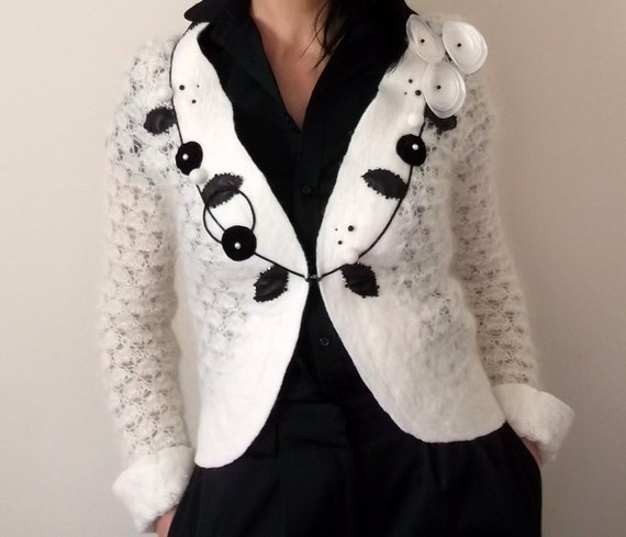 Cardigan Jacket, handmade bridal cardigan, size XS small, wool hand knitted  felted clothing, unique design, gift embroidery, bridal cape