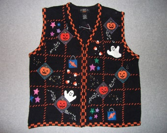 Halloween Sweater Vest Ghosts Candy Corn Jack-O-Lanterns Beaded Zip Up Ugly Christmas Tacky Gaudy X-Mas Party Holiday Nightmare L Large
