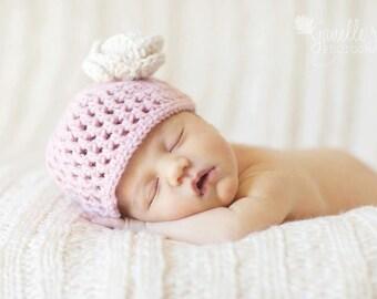 Crochet Mesh Stitch Baby Hat Pink White Flower Newborn Photo Prop MADE TO ORDER