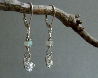 Forget  Me Not Flower Earrings- Opal Dangle Earrings- October Birthstone- Sterling Flowers