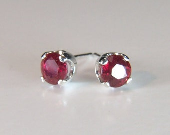 Genuine Ruby Earrings, 5mm x 0.72 Carat, Round Cut, Sterling Silver Post Earrings