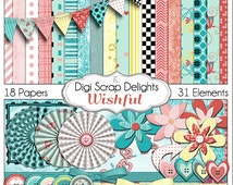 Wishful Digital Scrapbook Kit in Lovely Turquoise Blue,  Pink & Yellow -  Instant Download