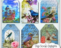 Digital Collage Sheet Vintage Bird Gift Tags w Roses for Jewelry Holders, ACEO, Bookmarks, Backgrounds for Scrapbooking, Instant Download