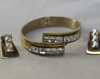 Rhinestone Clamper Bracelet with Matching Clip-on Earrings Vintage Gold Tone