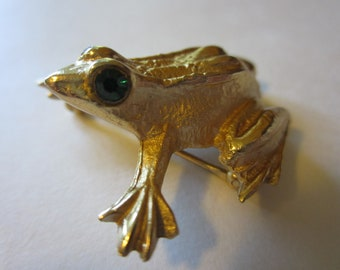 Vintage Napier Frog Brooch - Gold Tone - Green Rhinestone Eyes - Collectors Jewelry - Womens Fashion