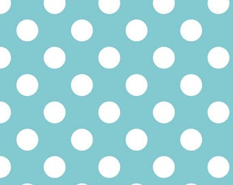 In stock now-Medium Cotton Dots in Aqua-by Riley Blake- 1 yard