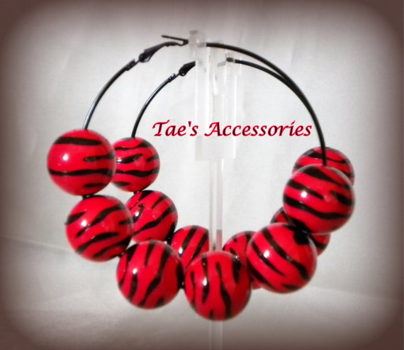 Red & Black Zebra Print Earrings