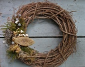 Owl's Nest grapevine wreath - moss, mushroom, lotus pod, seed pods, pine, rustic, natural, organic, lodge, winter, spring, seasonal