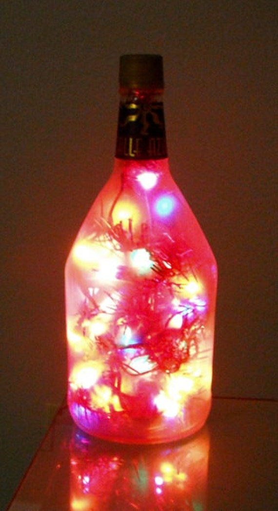 Glass Bottle Night Light Large Frosted Multi Color By