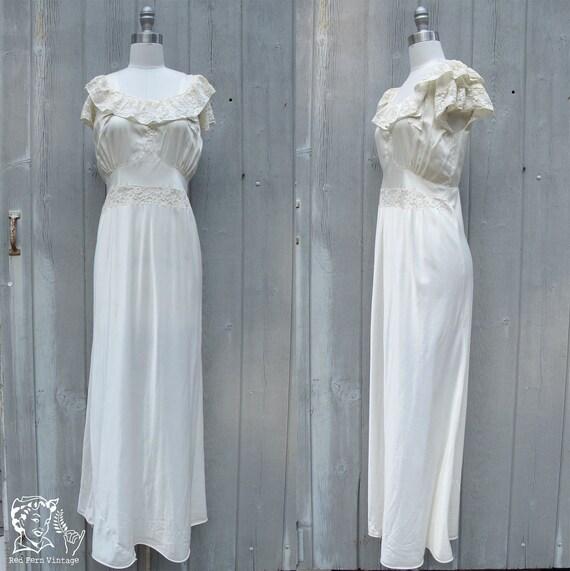 Vintage 1940's Lace and Nylon Bridal Slip, Medium / Large