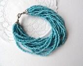 Handmade Fashion Jewelry Blue Tibet Jade Beads Bracelet Bangle