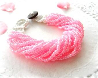Pink Pearl Bracelet - Beaded Bracelet - Crochet Bracelet - Handmade Fashion Jewellery