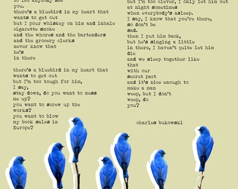 BUKOWSKI Bluebird in my heart POSTER - XXL large poster - A1 size