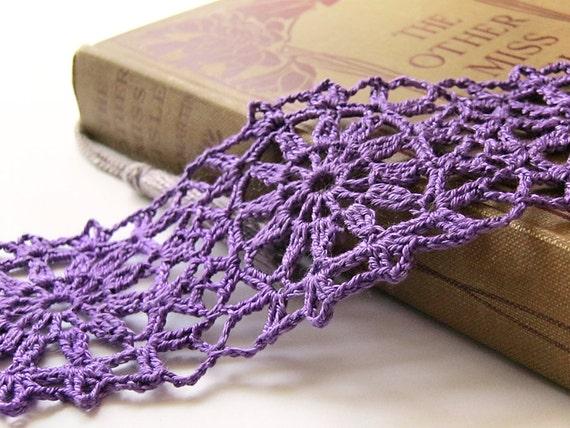 Lace Flower Motif Crochet Bracelet - Purple Egyptian Cotton - Cuff, Feminine, Retro, Granny Square, Modern, Hippie, Boho