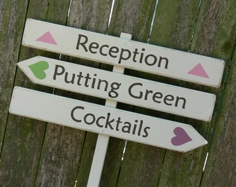 Custom Wedding Signs. Wood Wedding Directional Signs.. Three Piece Sign - Names, Reception, Parking.