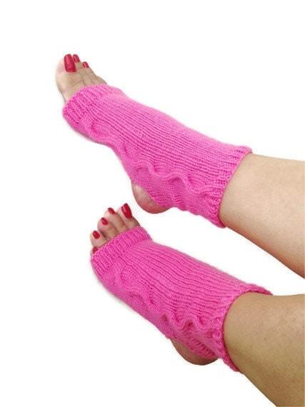 Pink flambe toeless yoga socks sockspilatesflip
