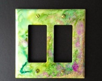 Switch Plate Handpainted -  Lime Green & Purple and Teal w/ Ferny Leaves or Pine Needles -Abstract Forest (1) Wall Decor