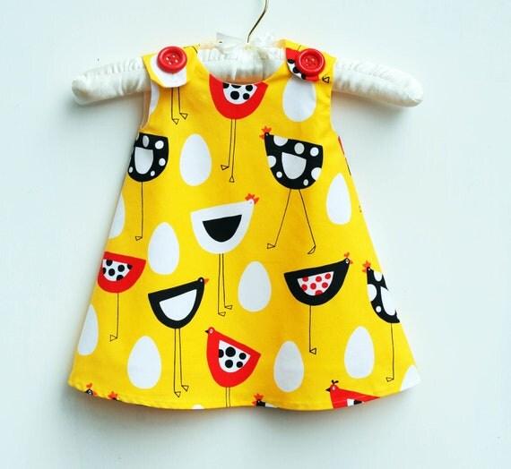 Farm Country - Children Clothing - Spring Dress - Newborn Dress - Farm Hens - School Trip - Yellow - Girls Clothing Pattern