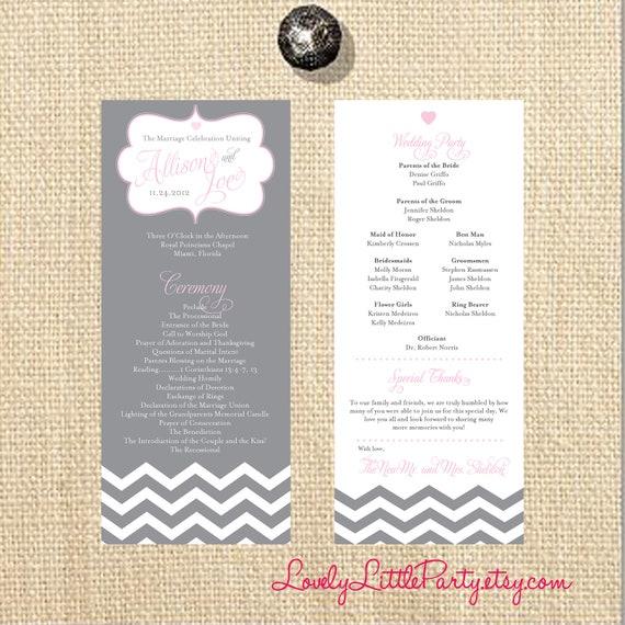 Sheik Chevron Wedding Program- DIY Printable - Lovely Little Party - You Choose Color