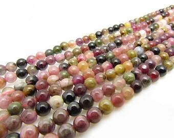 natural tourmaline round bead 6mm 15 inch strand
