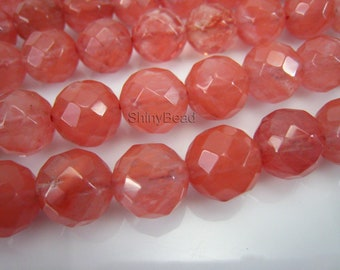 cherry quartz faceted round 10mm 15 inch strand