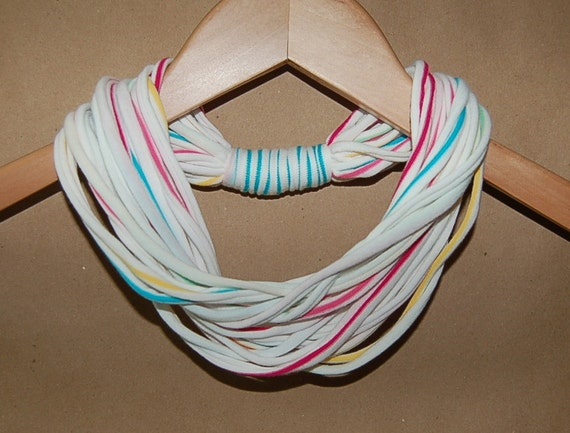 Upcycled T-Shirt Necklace/Scarf in White with Pink, Blue, Yellow, and Green Stripes
