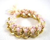 Pink and Gold Woven Chain Friendship Statement Bracelet Arm Swag Party