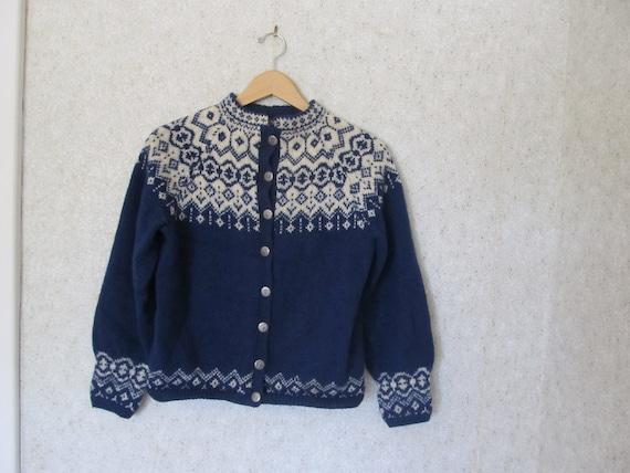 Navy and Cream Norwegian Scandinavian Cardigan Handknit 1960s